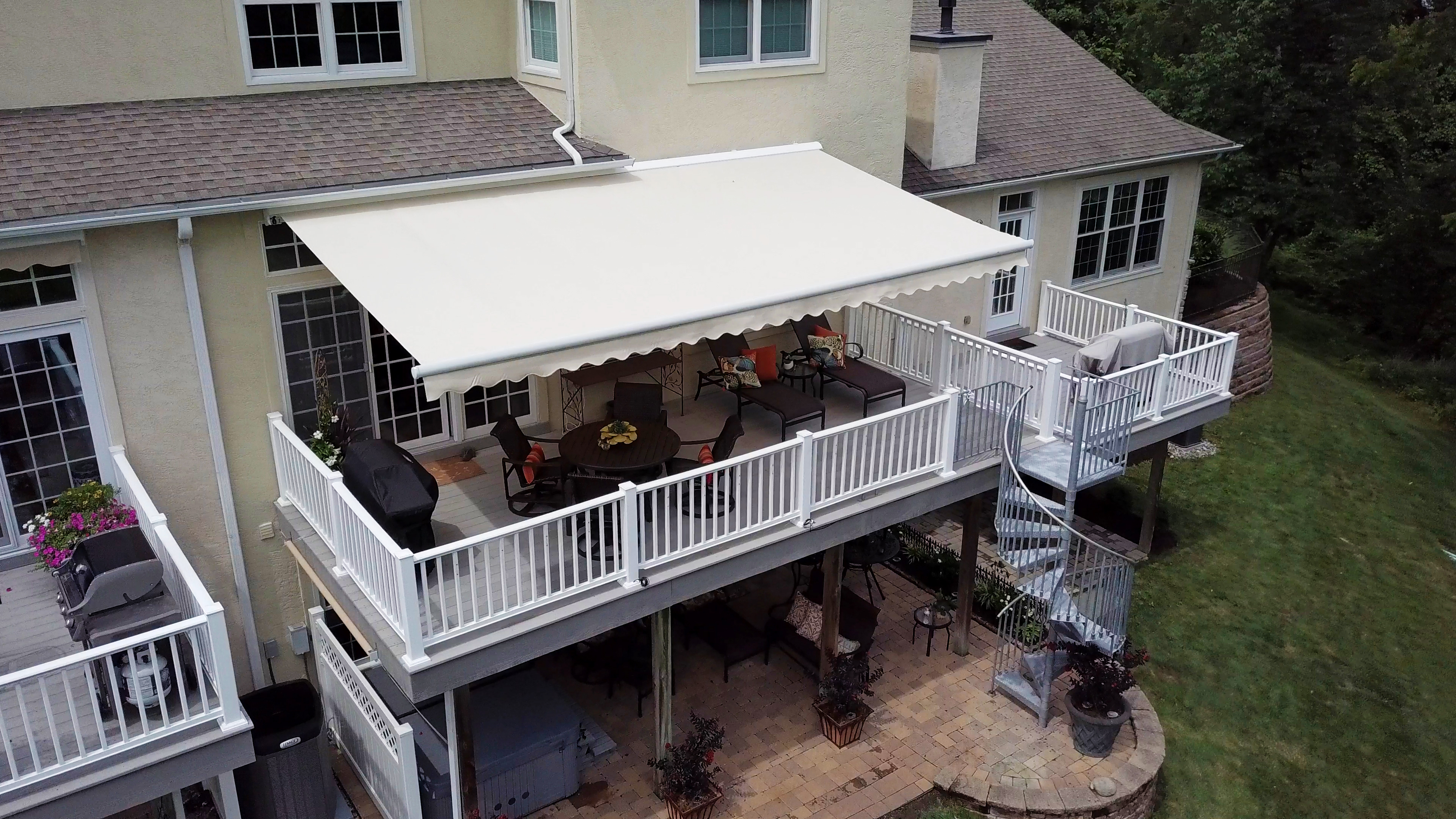 light colored residential awning for cool temperatures