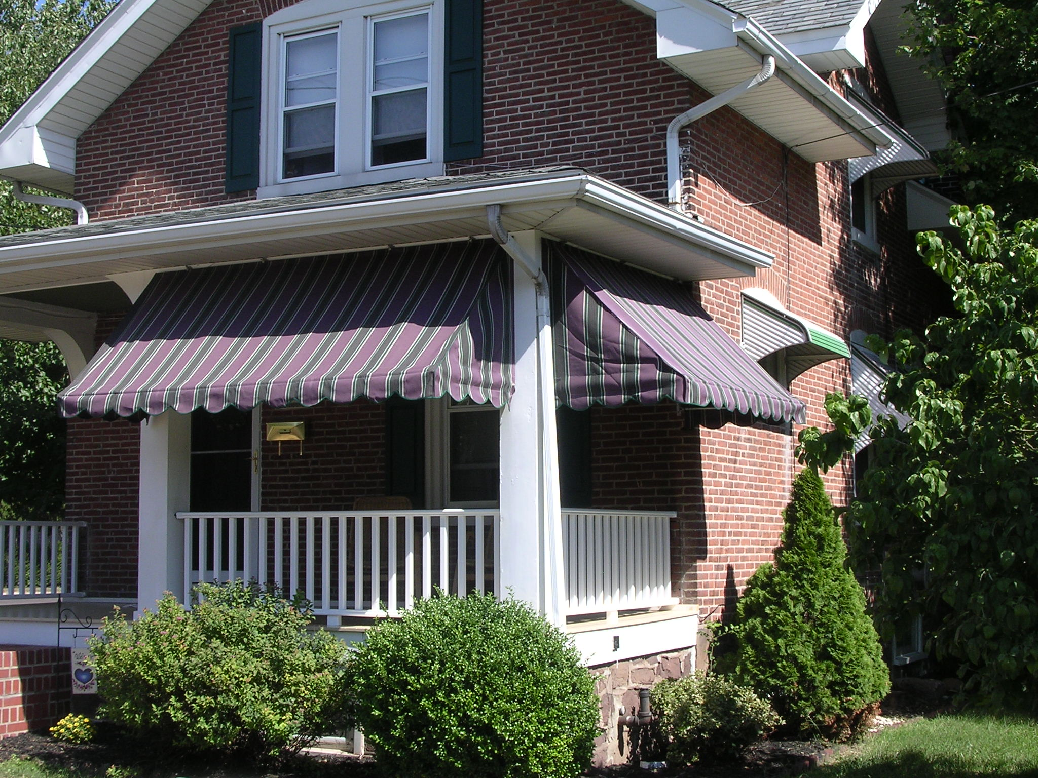 custom fabric and frame porch awnings