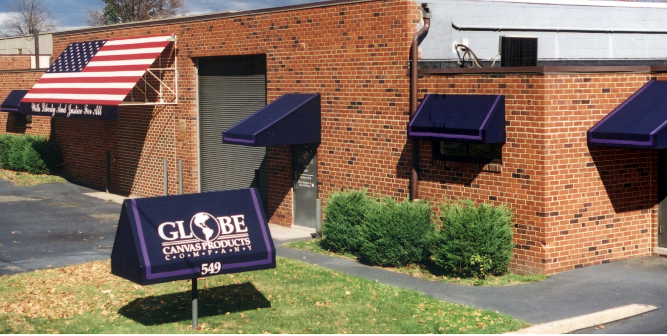 The outside exterior of the Globe Awnings building
